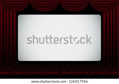 Darkened cinema hall background with blank screen. EPS10 vector. - stock vector