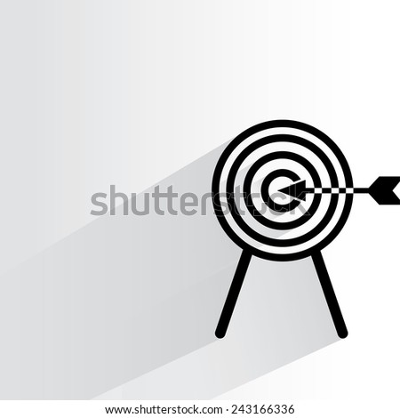 dart and arrow on white background, flat and shadow theme - stock vector