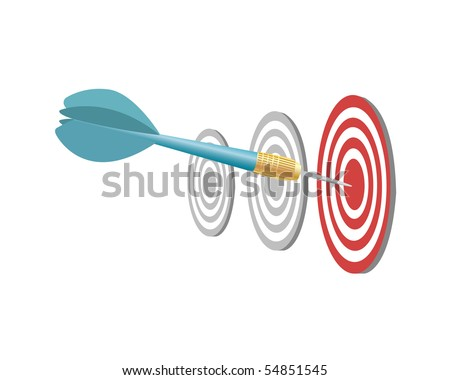 Dart and target on a white background