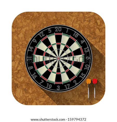 Dart board,cork and two darts for the app icon - stock vector