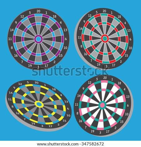Dart board vector set illustration - stock vector