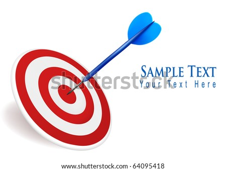 Dart hitting a target. Success concept. Vector Illustration.