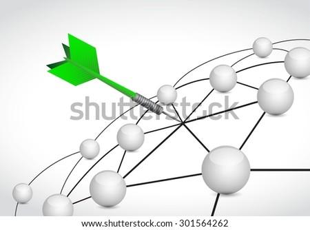 dart link sphere network connection concept illustration design graphic background - stock vector