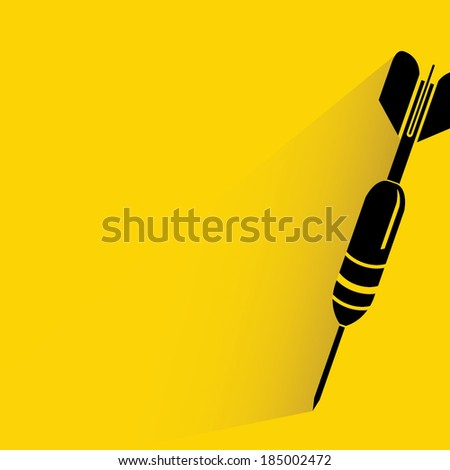dart on yellow background, target concept - stock vector
