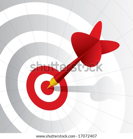 Dart right on the target - stock vector