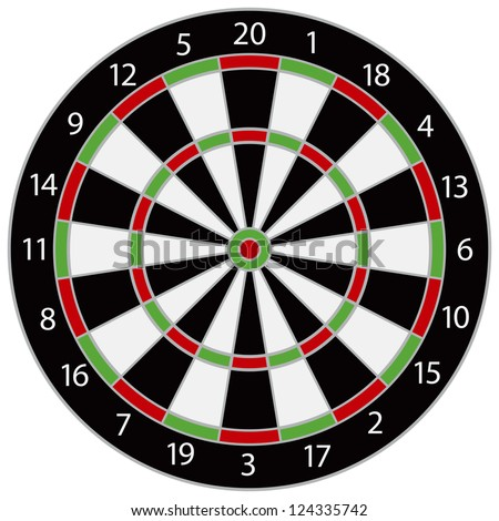 Dartboard Illustration Isolated on White Background Vector