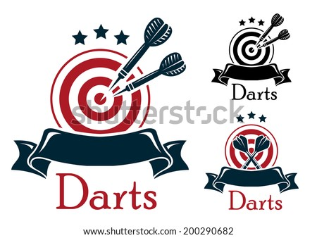 Darts emblem logo with crossed a dart board and darts over a blank ribbon banner with stars above in three color variants with text - Darts - stock vector