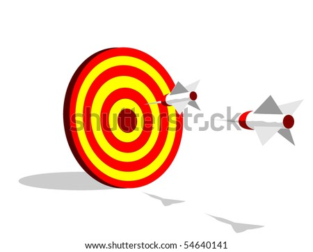 Darts flying to a target