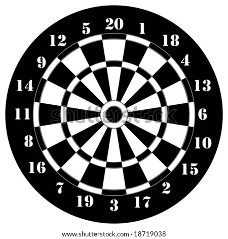 Darts game black and white - stock vector