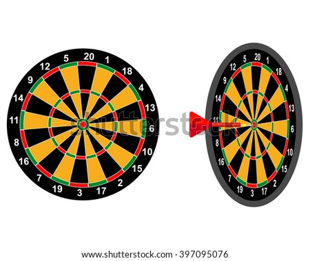 darts game dart target with two digits - stock vector