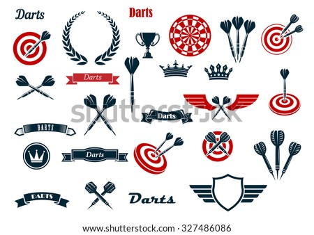 Darts game items and heraldic elements with arrows, dartboards, trophy, heraldic shield, laurel wreath, ribbon banners and crowns. For sports and leisure theme design - stock vector