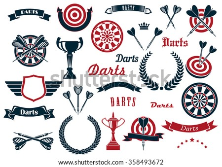 Darts sport game design elements and items with dartboard, arrow, trophy cup, heraldic laurel wreath, winged shield and ribbon banners, stars, crowns. For sports design usage - stock vector