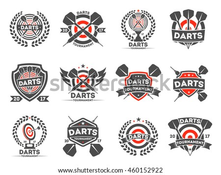 darts tournament club logo set vector stock vector royalty free