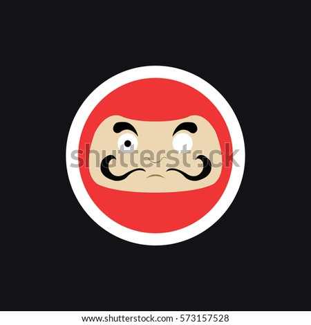 Daruma sticker japanese traditional doll vector illustration