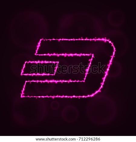pink purple dash dash coin vector icon dash coin stock vector 709315213 shutterstock