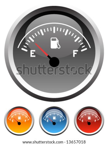 Dashboard gas gauge icons in 4 colors - stock vector