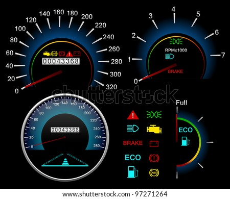 dashboard Speedometer. Vector background - stock vector