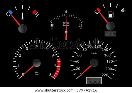 Dashboard with gauge. Speedometer, tachometer, fuel, temperature, accumulator charge gauge. Vector illustration on white background