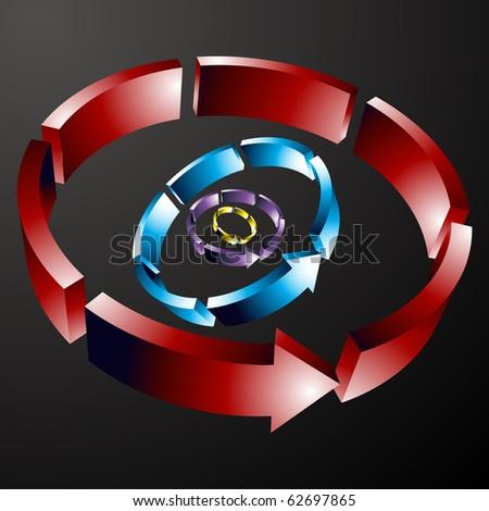 Dashed Circular Arrow Line - stock vector
