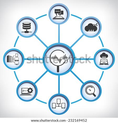 data analysis, analytics concept, information technology diagram - stock vector