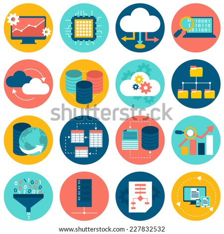 Data analysis database network technology settings icons flat set isolated vector illustration - stock vector