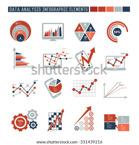 Data analysis elements of info graphics design on white background,vector - stock vector