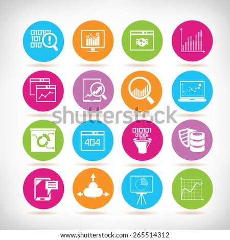 data analysis icons, information technology icons - stock vector
