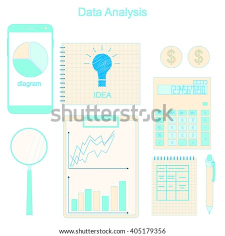 Data analysis. Phone for communication. The charts and graphs. Calculation of income. Business ideas and income. A set of financial instruments. Accounting. Vector illustration. - stock vector
