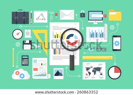 Data analysis, research, analytics elements. Flat design style modern vector illustration. - stock vector