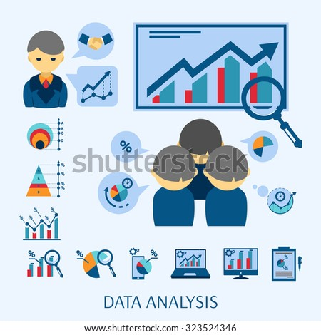 Data analysis software for new business startup market research flat icons composition poster abstract isolated vector illustration - stock vector