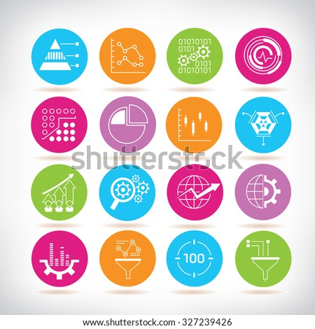 data analytics and network icons, information technology - stock vector
