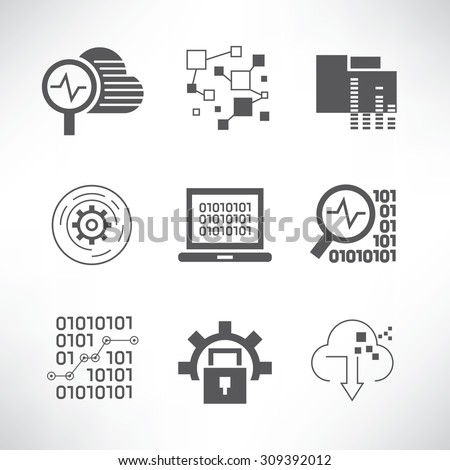 data analytics and network icons set - stock vector