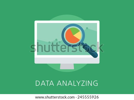 data analytics concept flat icon - stock vector