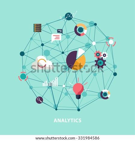 Data analytics. Flat design. - stock vector