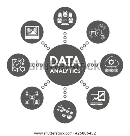 data analytics icons, information technology and network concept - stock vector