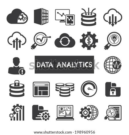 data analytics icons set, big data concept icons - stock vector