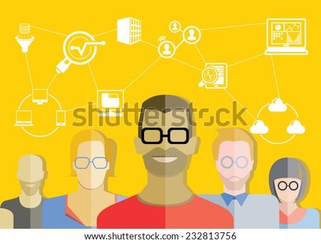 data analytics, web analytics concept, yellow background - stock vector