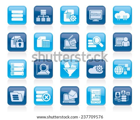 data and analytics icons - vector icon set - stock vector