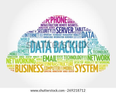 Data Backup word cloud concept - stock vector