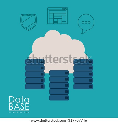 Data Base concept with cloud computing icons design, vector illustration eps 10