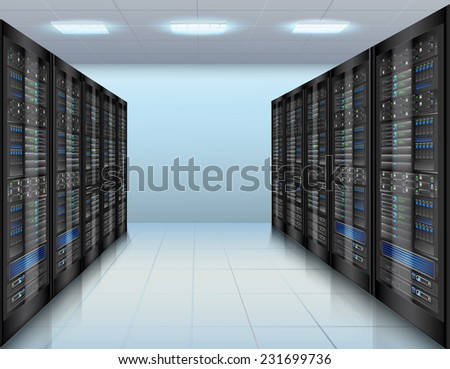 Data center concept with network servers database computer hardware room vector illustration - stock vector