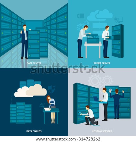 Data center design concept set with hosting servers flat icons isolated vector illustration - stock vector