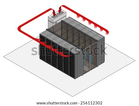 Data center hot and cold aisle rack/cabinet configuration/layout. Arrows show flow of hot and cold air. Cold air enters from raised floor in contained aisle. Hot air drawn into air conditioner. - stock vector