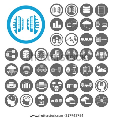 Data Center icons set. Big data, data analytics, cloud computing and server. Illustration EPS10 - stock vector
