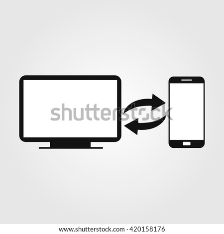 Data exchange icon. Sync icon vector. a computer with a phone symbol synchronization. Black and white symbol. - stock vector