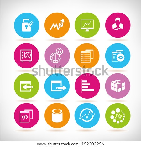 data management and web icons, round button set - stock vector