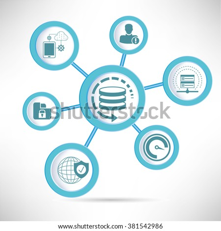 data management, data protection concept - stock vector