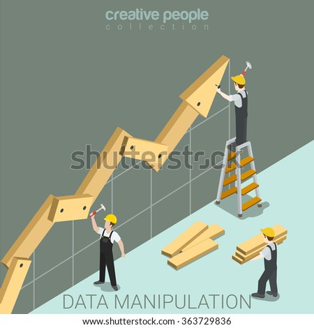 Data manipulation flat 3d isometry isometric juggling with facts report statistics concept web vector illustration. Construction workers nailing hammer wooden graphic parts. Creative people collection - stock vector