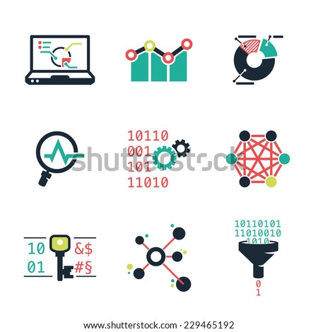 Data mining and Analytic | Color icons set - stock vector