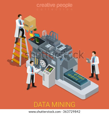Data mining flat 3d isometry isometric technology concept web vector illustration. Lab workers and data digitizing conveyor machine. Creative people collection. - stock vector